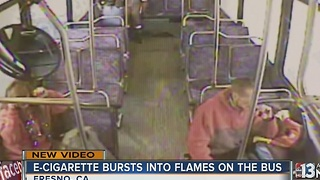 E-cigarette explodes on bus in California - Video