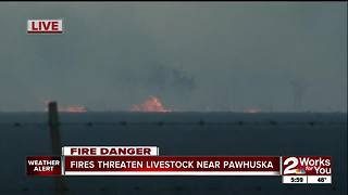 Fires threaten livestock near Pawhuska - Video