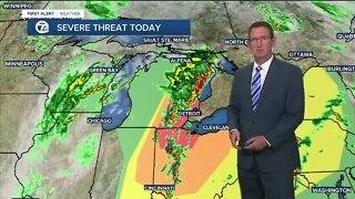 Storm threat moves east
