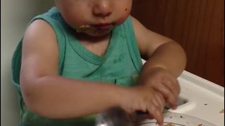 Adorable Little Boy Fails in Using a Spoon