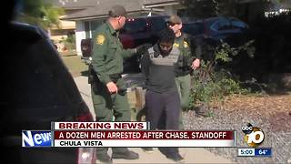 12 men arrested after chase, standoff - Video