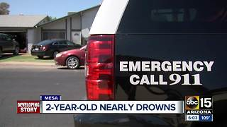 Two-year-old boy hospitalized after being pulled from Mesa pool, police say - Video