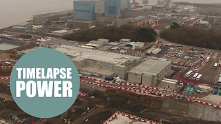 Drone footage shows Europe's biggest building site, Hinkley Point C, - Video