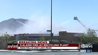 3-alarm fire at Recycling Plant - Video