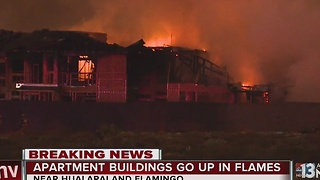 4 apartment buildings under construction catch fire - Video