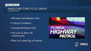 Naples man in critical condition after motorcycle crash