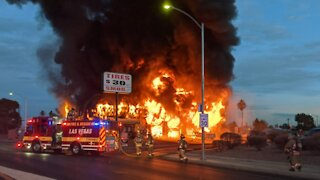 Las Vegas firefighters battle 2-alarm fire at tire shop near Meadows Mall