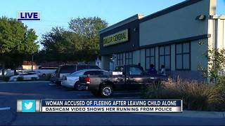 Woman accused of fleeing after leaving child alone - Video