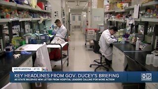 Key headlines from Governor Ducey's press briefing