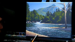 Acrylic Landscape Painting of a River with Distant Mountains - Time Lapse - Artist Timothy Stanford