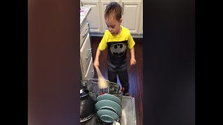 Little Drummer Boy makes his own Drum Kit