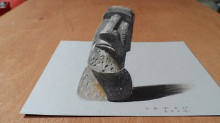How to draw a 3D Easter Island Head - Video