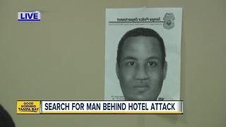 Woman attacked in hotel bathroom by man with knife - Video