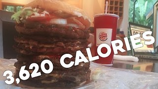Model Wolfs Down 10 Patty Whopper in 4:12 Minutes - Video