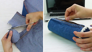 DIY Pencil Case With Upcycled Jeans! - Video