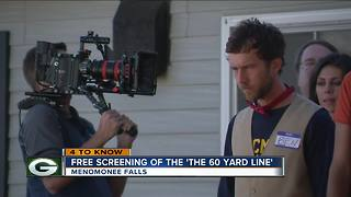 "Movie Theater in Menomonee Falls offering free showing of ""The 60 Yard Line"" Wednesday night - Video"