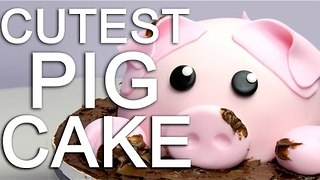How to make a piggy cake covered in chocolate mud - Video