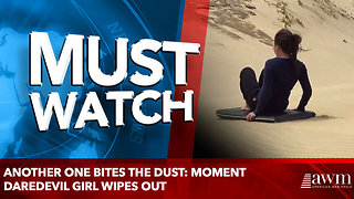 Another one bites the dust: Moment daredevil girl wipes out - Video