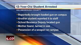 Middle school student arrested for bringing loaded firearm onto school campus in Hillsborough County