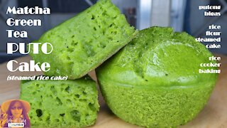 Matcha Green Tea Puto Cake | How To Make Steamed Rice Cake | EASY RICE COOKER CAKE RECIPES