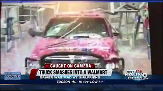 Truck crashes into, and drives around Texas Walmart