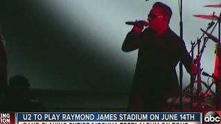 U2 to play Tampa's Raymond James Stadium on June 14th on 'The Joshua Tree 2017' summer tour - Video