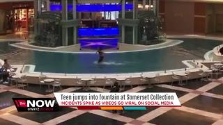 Teen jumps into fountain at Somerset Collection - Video