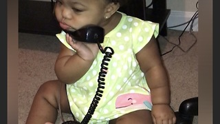 Baby Girl Takes Phone Calling To A Whole Other Level - Video