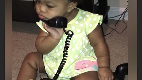 Baby Girl Takes Phone Calling To A Whole Other Level