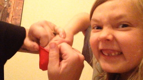 Blowing Up A Balloon On My Daughter's Hand