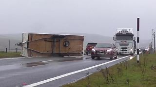 Overturned caravan on Cumbria's A66 after strong winds - Video
