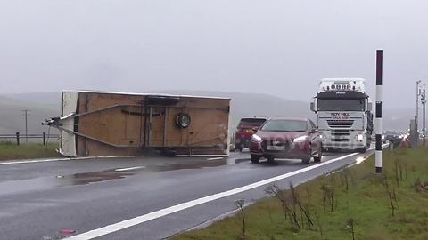 Overturned caravan on Cumbria's A66 after strong winds