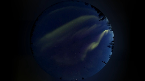 Northern lights of all colors in the moonless sky