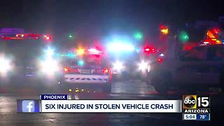 Six people injured in stolen vehicle Phoenix crash - Video
