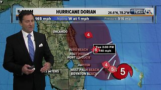 Category 5 Dorian packing 165 mph winds, Hurricane Warning for Jupiter Inlet to Brevard/Volusia