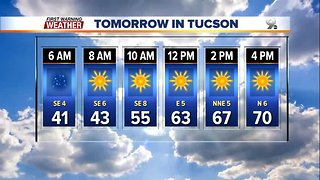Rain moves out and sunshine comes into Southern Arizona