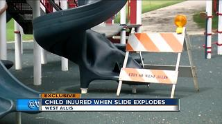 Child injured after slide explodes atl West Allis playground - Video