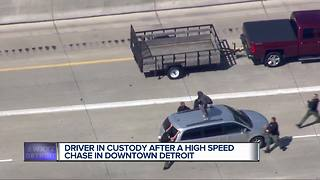 Driver in custody after a high speed chase in Downtown Detroit - Video