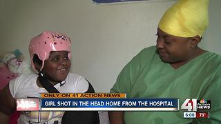 Girl shot in the head returns home from the hospital - Video