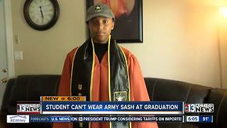 Student can't wear Army sash at graduation - Video