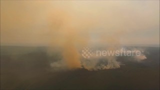 Drone captures massive wildfire in Northern Ireland - Video