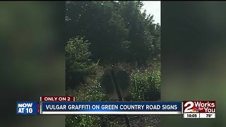 Vulgar graffiti on Green Country road signs - Video