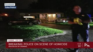 Police on the scene of homicide in Tulsa