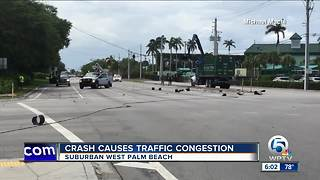 Crash knocks down power lines in West Palm Beach - Video