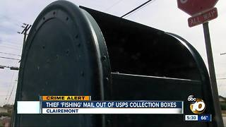 Local thief 'fishing' for mail in USPS collection boxes - Video