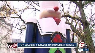 Toy soldiers, sailors installed on Monument Circle - Video