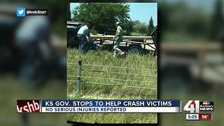 Kansas governor helps after bad wreck on K10 - Video