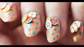 Vintage fruit salad DIY nail art