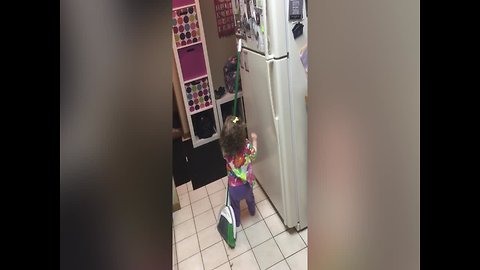 Adorable Girl Won't let Height Keep her from Magnets!