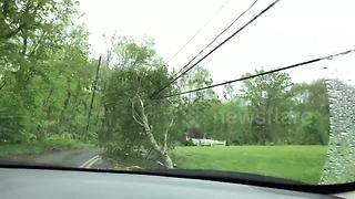 Man drives through Connecticut to show tornado's trail of destruction - Video